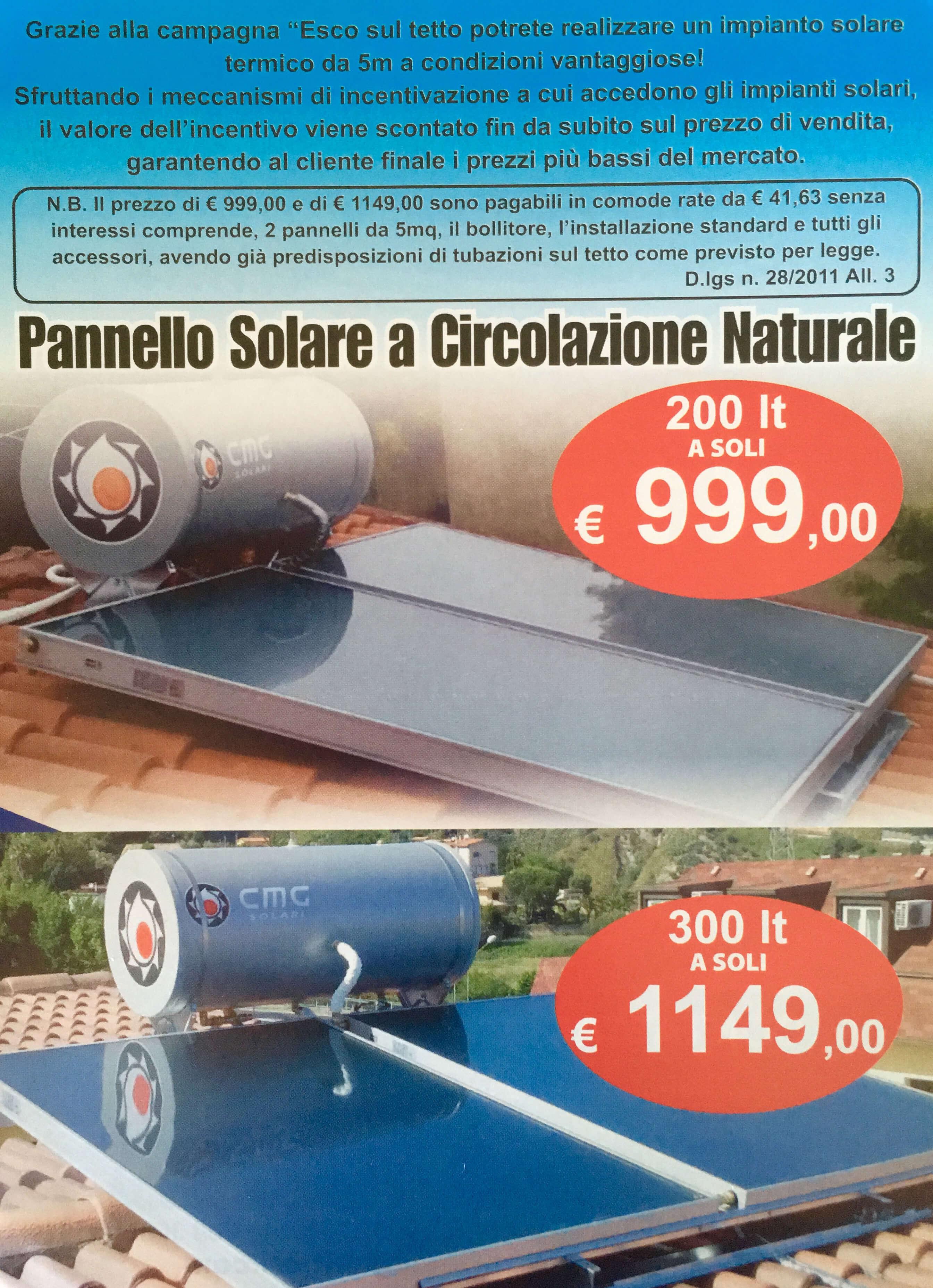Kit Pannello Solare Circolazione Naturale : Promo pannello solare termico da mq raffaele gualtieri